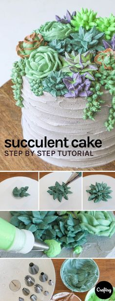 Succulent cakes are trending! If your mom is a fan of spending time in the garden or just springtime in general why not make her this cake for Mother's Day. cake decorating ideas kuchen How to Make the World's Most Succulent Cake Pretty Cakes, Cute Cakes, Beautiful Cakes, Amazing Cakes, Yummy Cakes, Cake Decorating Techniques, Cake Decorating Tips, Cookie Decorating, Cake Decorating Amazing