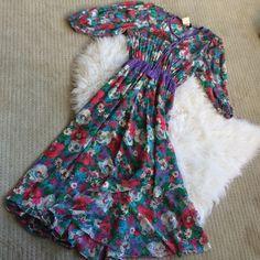 Vintage Diane Fres floral dress 100% silk. Wonderful condition wrap dress with tassel ties. Gorgeous floral print. Fits L/XL Diane Fres Dresses Maxi