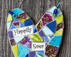 Whimsical Mosaic Heart with Personalized Sentiment Message Mosaic Art, Mosaics, Peace By Piece, Garden Structures, Embellishments, Whimsical, Etsy Seller, Christmas Ornaments, Create