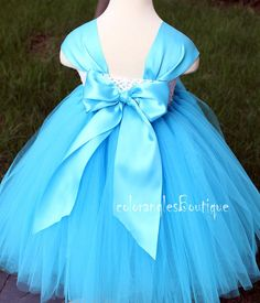 Flower Girl DressTurquoise tutu dress baby by coloranglesBoutique