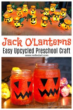 Easy Halloween Lanterns - Easy Halloween Lanterns for Preschoolers and Toddlers to make. This Mason Jar Jack O'Lantern is cute, easy and lasts for years. Recycle jars & tissue paper for this toddler Halloween craft Halloween Activities For Toddlers, Halloween Crafts For Kids To Make, Toddler Halloween, Easy Crafts For Kids, Toddler Crafts, Preschool Crafts, Halloween Ideas, Halloween Mason Jars, Diy Halloween Lanterns
