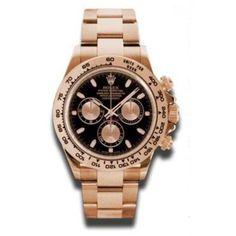 Rolex Men's Daytona Black Dial Watch, Gold