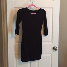 Black dress Black jersey midi dress, 3/4 length sleeves Soprano Dresses Midi