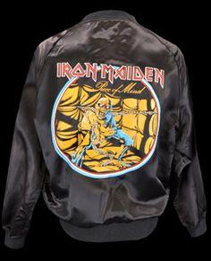 Mens Vintage Clothing 1983 Iron Maiden Satin Jacket Medium @ Monster Vintage