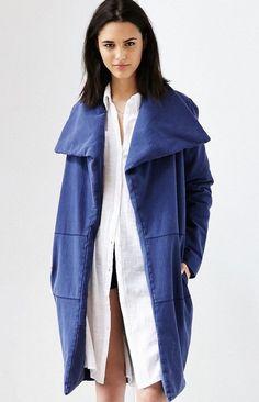NEW UO One Teaspoon denim blue Oversized Cozy Collar Open Front Filled Coat S #UOOneTeaspoon #filled