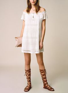 This lace off the shoulder dress is on the list of favorites for festival season.