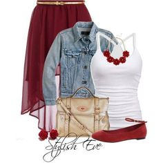 White tank and cute red skirt outfit.