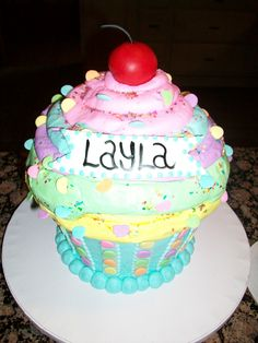 Giant cupcake...this was a huge hit for baby Layla's first birthday!