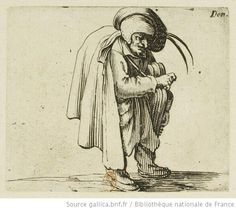 Les Gobbi. 15, Le joueur de vielle. Estampe de Jacques Callot (1592-1635). Conservé à la BNF.