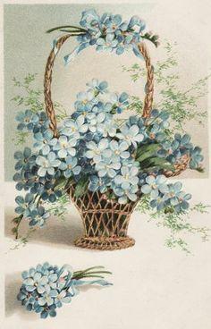 Vintage Blue Flowers Graphic Image Art Fabric Block Doodaba 4 x 6 Vintage Greeting Cards, Vintage Ephemera, Vintage Postcards, Vintage Flowers, Vintage Floral, Blue Flowers, Vintage Diy, Vintage Paper, Vintage Pictures