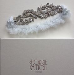 Florrie Mitton custom Aphrodite garter with powder blue silk.  florriemitton.etsy.com