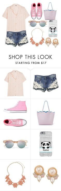 """""""Tricky trend:Pajamas"""" by nozoeli ❤ liked on Polyvore featuring Bodas, Converse, Deux Lux, Le Specs, Dorothy Perkins, Carolee and TrickyTrend"""