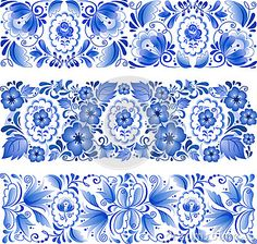 Russian traditional blue ornament in gzhel style by 1enchik, via Dreamstime