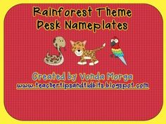 Rainforest Jungle Themed Desk Nameplates