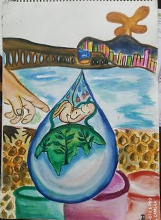 Poster on save water Poster On Save Water, Save Water Poster Drawing, Earth Poster, Save Environment, Oil Pastel Paintings, Abstract Art, Posters, Drawings, Girls