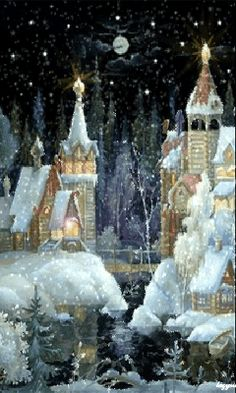 winterTIME. via H.W. Fuentes. I can almost envision Tinkerbell flying from rooftop to rooftop.