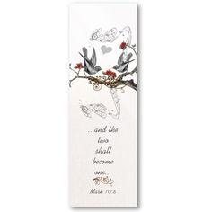 Vintage Gray Bird Red Blooms Wedding Tags