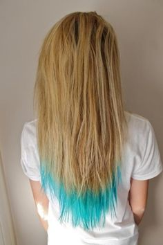 I want her Blonde hair with dark blue and teal dip dye