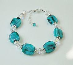 Swarovski Crystal Beaded Bracelet with Teal Glass Beads