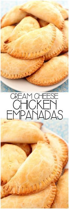 Cream Cheese Chicken Empanadas shredded chicken, cream cheese, cheddar, corn and jalapenos fill flaky pastry crust for a play on jalapeno poppers! Mexican Dishes, Mexican Food Recipes, Chicken Empanadas, Empanadas Recipe, Mexican Empanadas, Baked Empanadas, Tapas, Cream Cheese Chicken, Cheesy Chicken