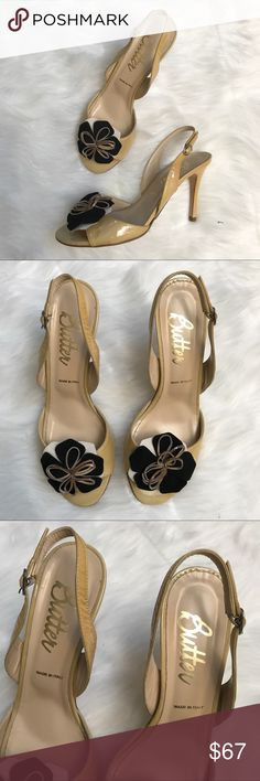 "Butter NWOT Yellow Gold Slingback Open Toe Heels Butter Lavorarions Artigiana NWOT Yellow Gold Slingback Open Toe Heels. 4"" heel. Size 8.5. Black flower on toe. New condition. Butter Shoes Shoes Heels"