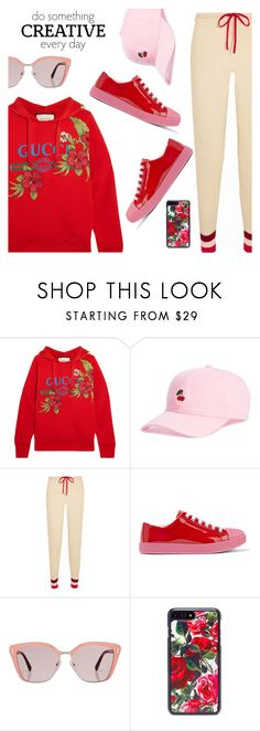 """Sporty cool look"" by dressedbyrose ❤ liked on Polyvore featuring Gucci, Body Rags, Madeleine Thompson, Prada, Dolce&Gabbana, WALL, StreetStyle, cool, sporty and polyvoreeditorial"