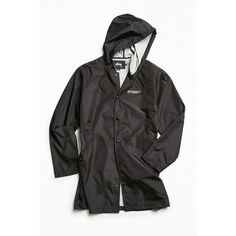 Stussy Long Hooded Parka Jacket ($99) ❤ liked on Polyvore featuring men's fashion, men's clothing, men's outerwear, men's jackets, mens hooded jackets, mens parka jacket, mens long jacket, mens windbreaker jacket and mens water resistant jacket