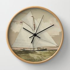 "Vintage Ship Clock, Vintage Ship Wall Clock, Modern Clock, The Ship Clock, Yacht clock, Boat Race by STANLEYprintHOUSE  47.00 USD  Available in natural wood, black or white frames, our 10"" diameter unique Wall Clocks feature a high-impact plexiglass crystal face and a backside hook for easy hanging. Choose black or white hands to match your wall clock frame and art design choice. Clock sits 1.75"" deep and requi ..  https://www.etsy.com/ca/listing/243062514/vintage-ship-clock-vintag.."