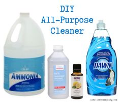 DIY All-Purpose Cleaner: ammonia, rubbing alcohol, some dish soap, few drops of essential oil, & water... (this solution is a favorite of mine...!)