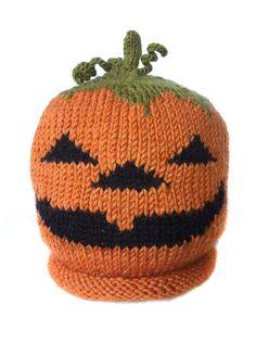 Pumpkin Hand knit  hats for children Jacko'Lantern Hat by LizSox, $35.00