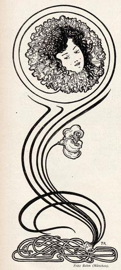 by Fritz Rehm, for Jugend magazine, 1898 Fleurs Art Nouveau, Art Nouveau Flowers, Koloman Moser, Charles Rennie Mackintosh, Clip Art Vintage, Heidelberg University, Lady Justice, Academic Art, Principles Of Art