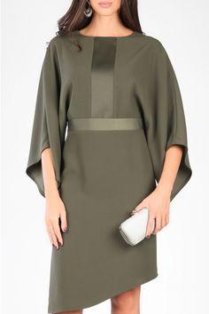 CARLA KNEE-LENGTH ASYMMETRIC SATIN INSERTS DRESS