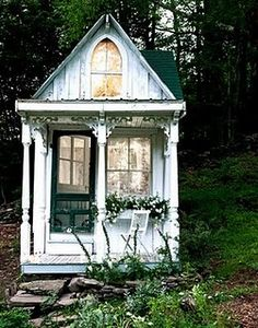 "odditiesoflife: "" Tiny Victorian Cottage in the Woods A dream home in a dream landscape, this tiny Victorian-style cottage used to be a hunting cabin in the Catskills. The amazing transformation was."