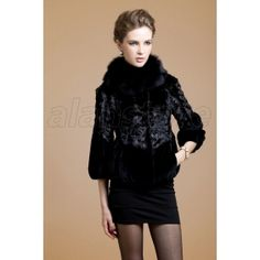 New Style In Winter In 2013, Mink Fur Stitched Making Craft, Slim Designed Rabbit Fur Made Overcoat For Women On Hot Sale
