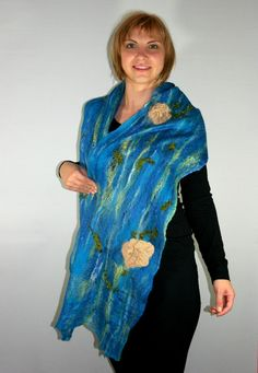 COBWEB Scarf Hand Felted Delicate Fancy scarf Felted by Filtil, $70.00