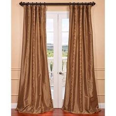 Luxembourg Bronze Embroidered Faux Silk Curtain   Overstock.com Shopping - Great Deals on EFF Curtains