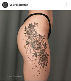 Tattoo Valera Kot - tattoo's photo In the style Graphics, Female, Flowe Side Hip Tattoos, Hip Tattoos Women, Trendy Tattoos, Leg Tattoos, Body Art Tattoos, Small Tattoos, Sleeve Tattoos, Cool Tattoos, Tattoo Thigh