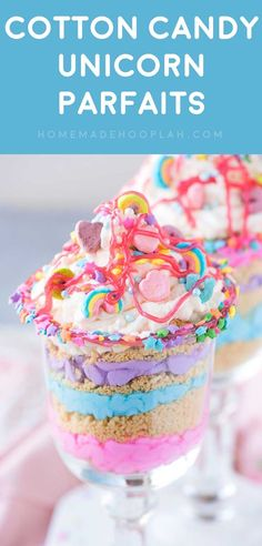 Cotton Candy Unicorn Party Parfaits! Ride the rainbow craze with this unicorn party dessert made with cotton candy flavor whipped cream, crushed golden Oreos, and Lucky Charms marshmallows. | HomemadeHooplah.com