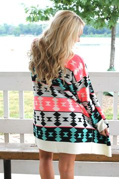 Join the Tribe Cardigan - Neon Pink