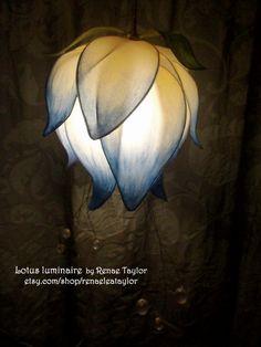 lot Light Blue Standard Lotus Luminaire (Lamp) by Renae Taylor Light Art, Light Blue, Lotus Lamp, Flower Lamp, I Love Lamp, I Saw The Light, Lampshades, Faeries, Pendant Lamp