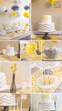 Gray and yellow theme for baby shower