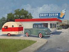 Vintage Teardrop Travel Trailer FORD pick-up truck DQ Dairy Queen Vintage Rv, Vintage Caravans, Vintage Travel Trailers, Vintage Campers, Dairy Queen, Pick Up, Ford F 1, Tin Can Tourist, Little Campers