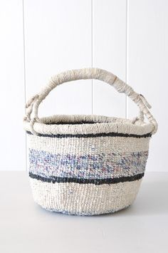 Bolga Basket - Stripe by KOROMIKO. Fairtrade. Handmade by women artisans in Africa from recycled plastic strips.