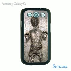 Samsung Galaxy S3 case -- Han  Solo frozen in Carbonite star wars,plastic case side in black or white. $15.99, via Etsy.