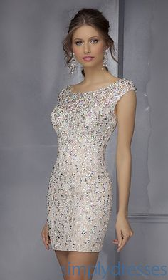 Short Beaded Dress with Open Back at SimplyDresses.com