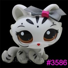 Rare Littlest Pet Shop White Cat Tiger Bowknot Child Girl Loose Figure Toy #3586