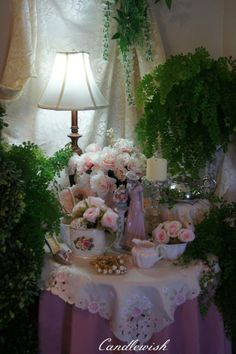 Ultimate shabby-chic - with green ferns to add contrast <3  via Candlewish <3