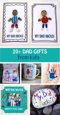 20+ Father's Day dad gifts from kids: photo frame, My Dad Rocks! , fingerprint mug, handprint keychain, grilling apron and plate, t-shirt, handprint stepping stone, fun facts about dad and more. Perfect for toddlers, preschoolers and older kids. #FathersDay #dadgifts #handprintgifts