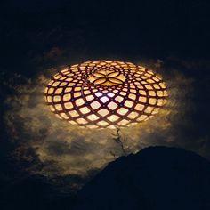 KINA - Lámpara de techo Madera Natural/Turquesa Ø44cm David Trubridge