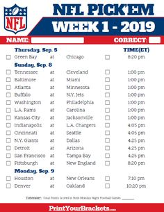 picture relating to Nfl Week 2 Schedule Printable referred to as 23 Simplest Printable nfl program photos within just 2018 Printable